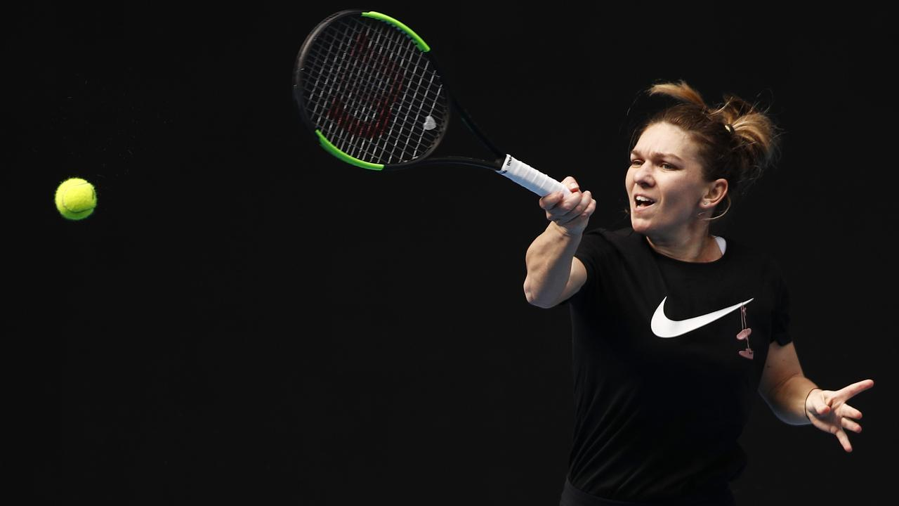 Simona Halep in action at Melbourne Park this week.