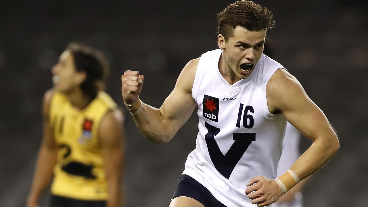 Possible top 10 draft pick Brodie Kemp lifted Vic Country. (Photo by Dylan Burns/AFL Photos via Getty Images)
