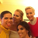 """America Ferrera ... """"Really good light back here in the presenters green room. @goldenglobes @amyschumer @evalongoria #JLaw"""" Picture: Instagram"""