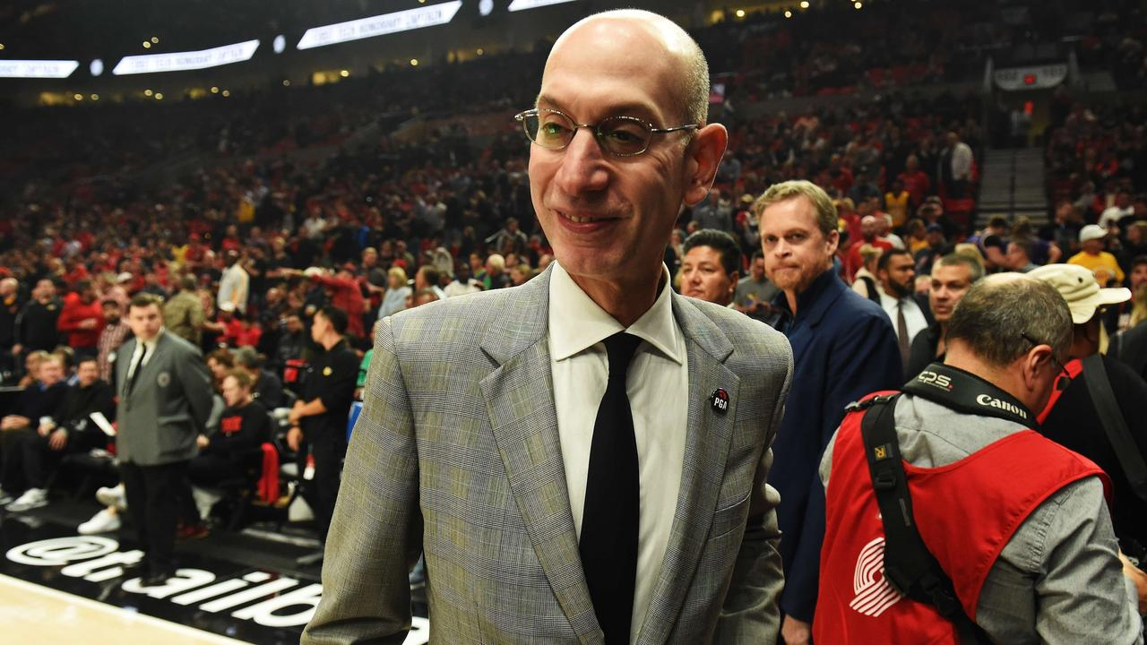 NBA Commissioner Adam Silver attends the game between the Lakers and Trail Blazers.