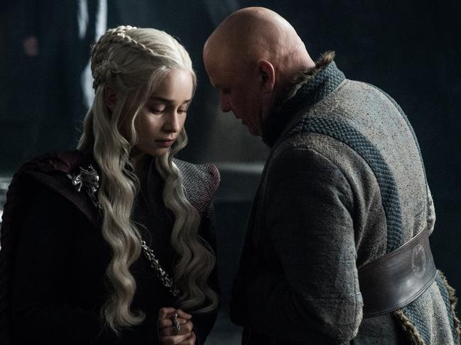 Emelia Clarke as Daenerys Targaryen and Conleth Hill as Varys. Picture: HBO