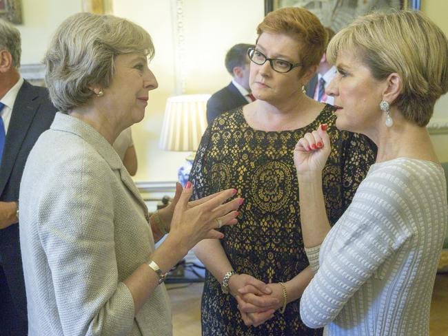 Australian Foreign Minister Julia Bishop (right) and Defence Minister Payne (centre), with UK Prime Minister Theresa May at a reception at No. 10 Downing Street in London, United Kingdom. Picture: AAP Image/Australia High Commission.