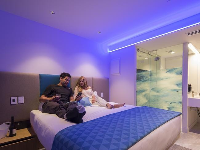 Guests can even adjust the room's lighting with their smartphones. Picture: Mi-Pad