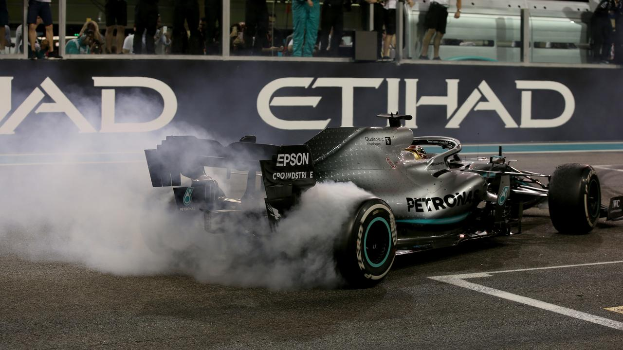 Hamilton lights it up after taking his 11th win of 2019 in Abu Dhabi.