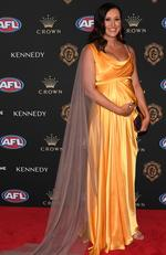 Emily Curnow arrives at the 2019 Brownlow Medal ceremony at the Crown Palladium in Melbourne in Melbourne, Monday, September 23, 2019. Picture: AAP Image/Julian Smith