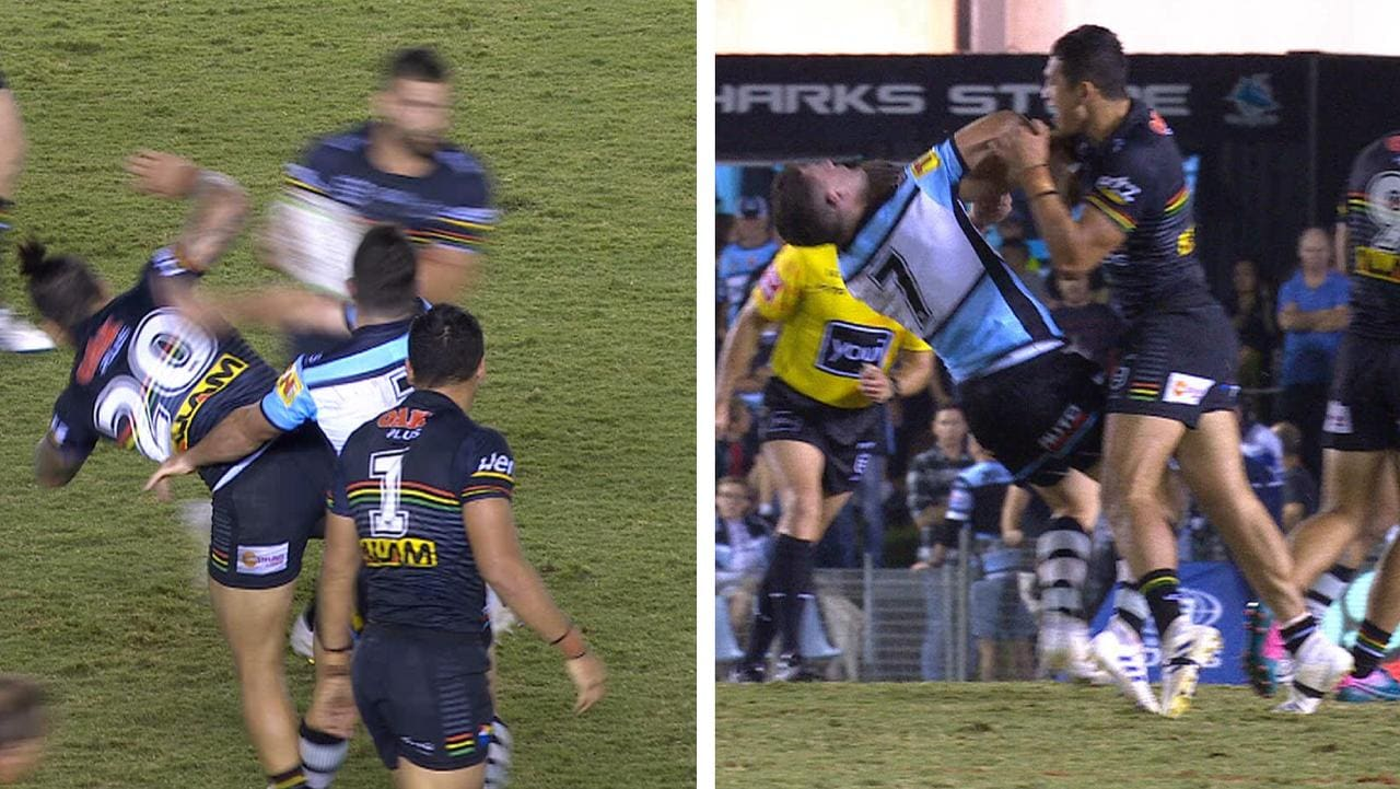 Chad Townsend floors Malakai Watene-Zelezniak, before brother Dalin gets revenge