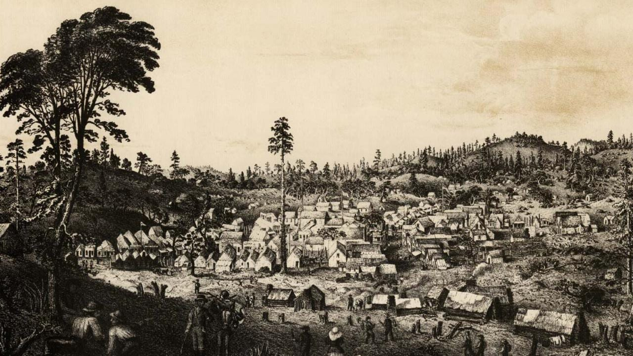 Mining camp during the California Gold Rush in the US around 1850.