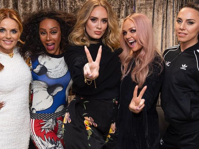 Adele pictured with The Spice Girls who reunited for a tour in 2019. Picture: Instagram/Adele