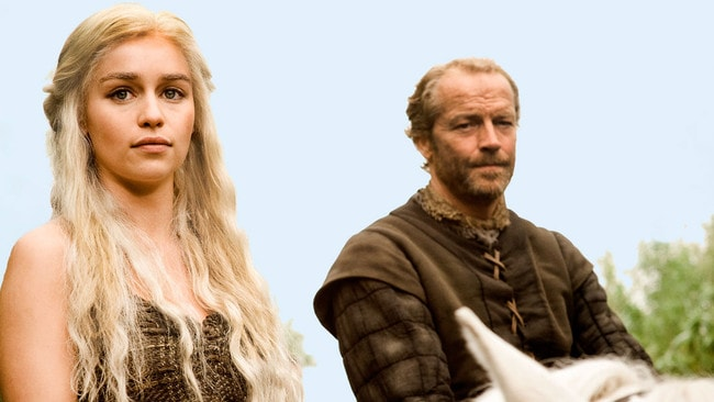 Clarke and Iain Glen in the first season of Game of Thrones