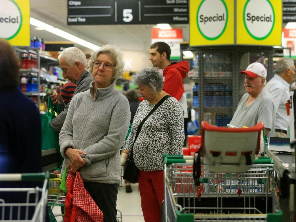 Seniors at Woolworths in Glenhuntly, Melbourne, early in the morning. Picture: Mark Stewart