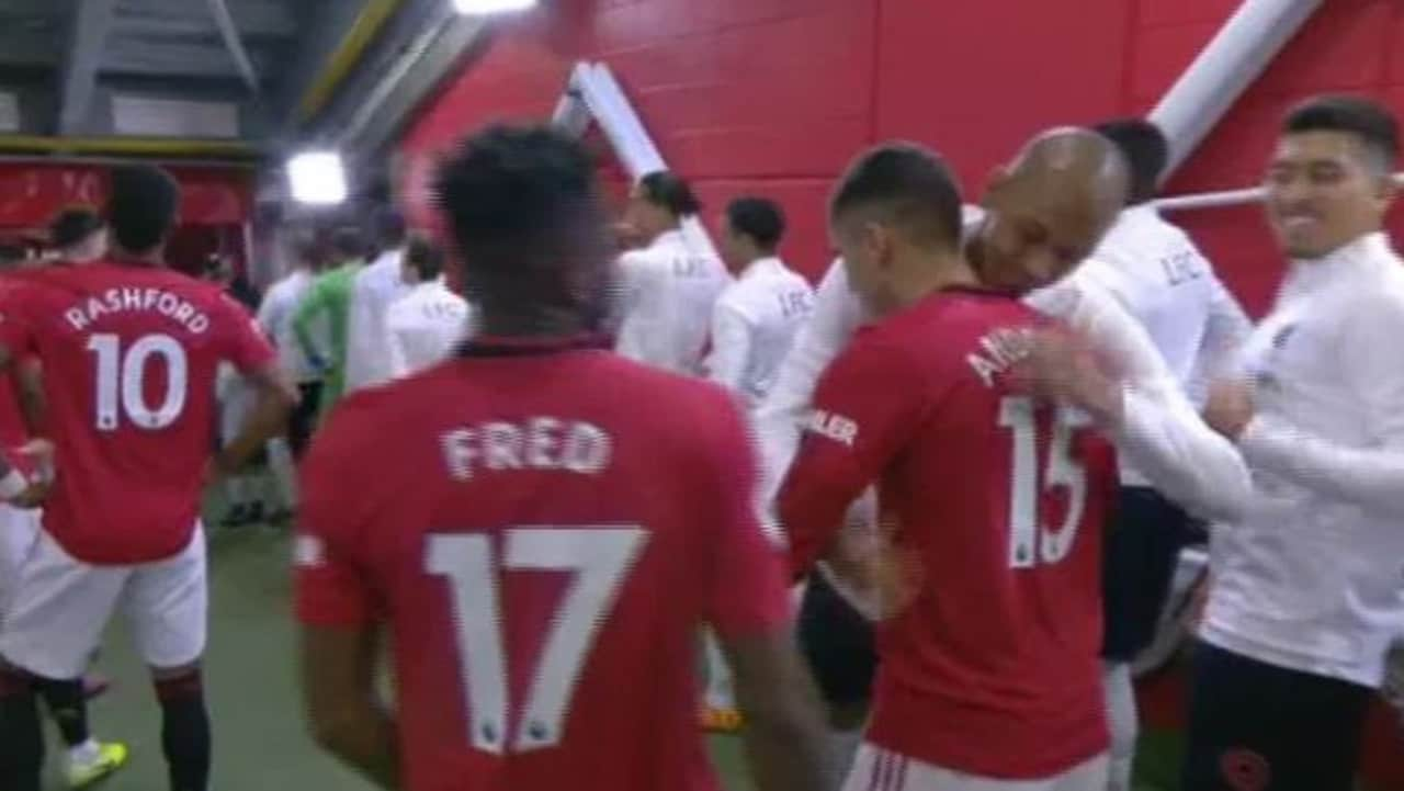 Manchester United and Liverpool players were hugging in the tunnel.