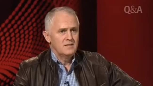 Malcolm Turnbull during one of his leather-jacket appearances on Q&A that made him popular.