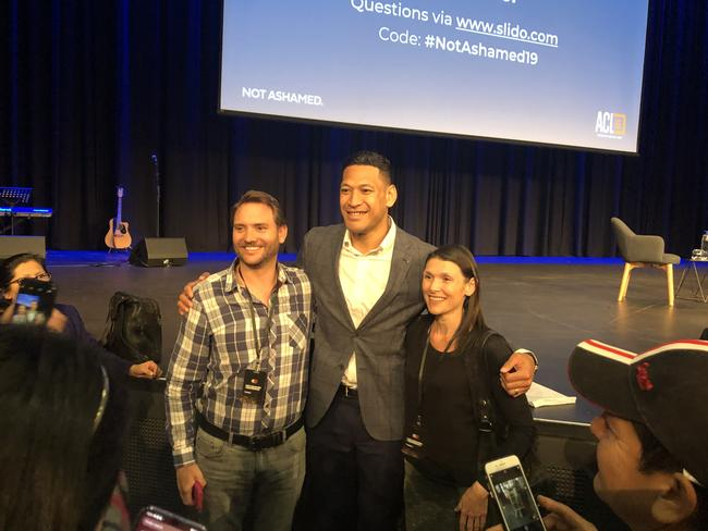 Israel Folau with fans at the Australian Christian Lobby's 'Not Ashamed' conference. Picture: Brenden Hills.