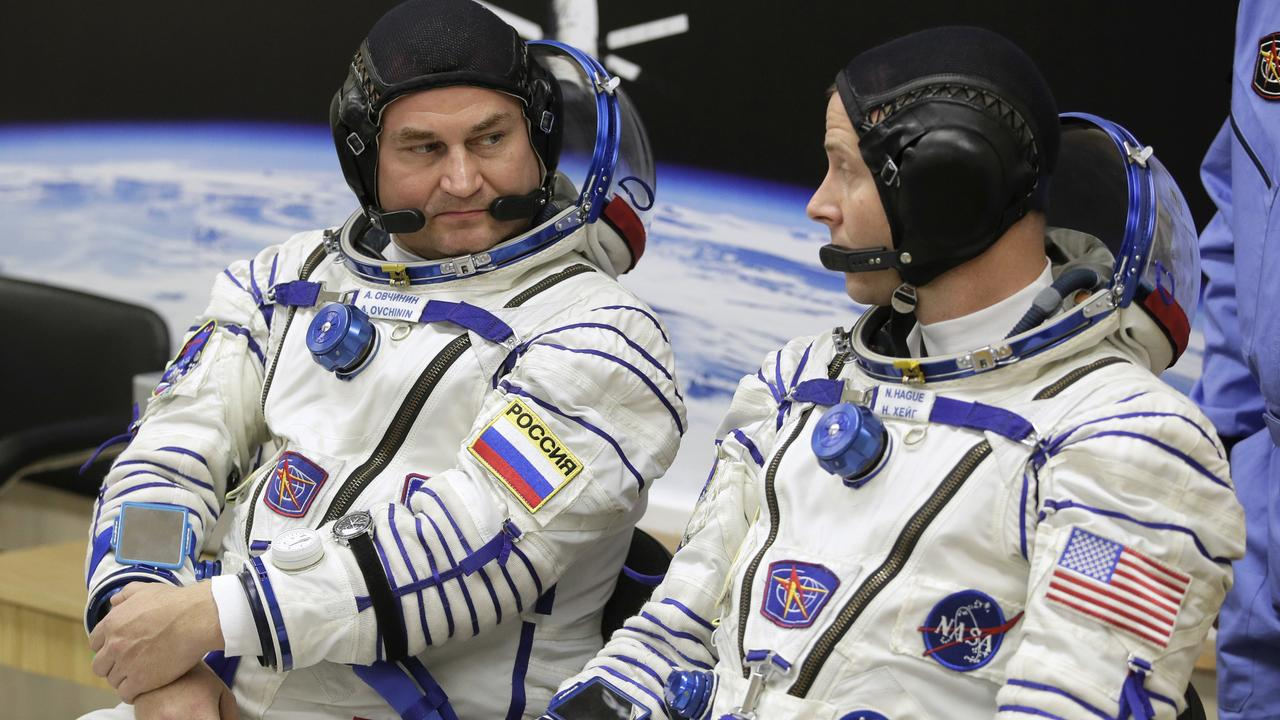 Russian cosmonaut Alexey Ovchinin and US astronaut Nick Hague, who were supposed to be the next crew at the ISS. They had to eject from their capsule. Picture: AP