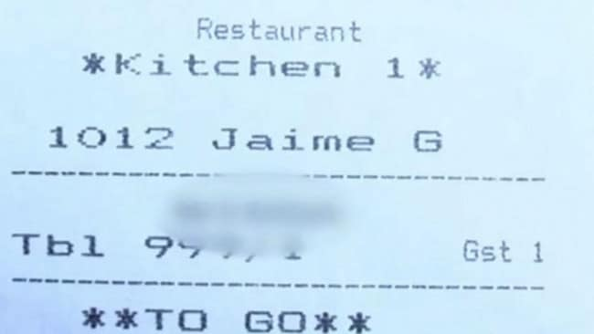 A US woman said she was made to feel 'uncomfortable' after discovering a racist slur on the receipt. Picture: Fox 5 Atlanta