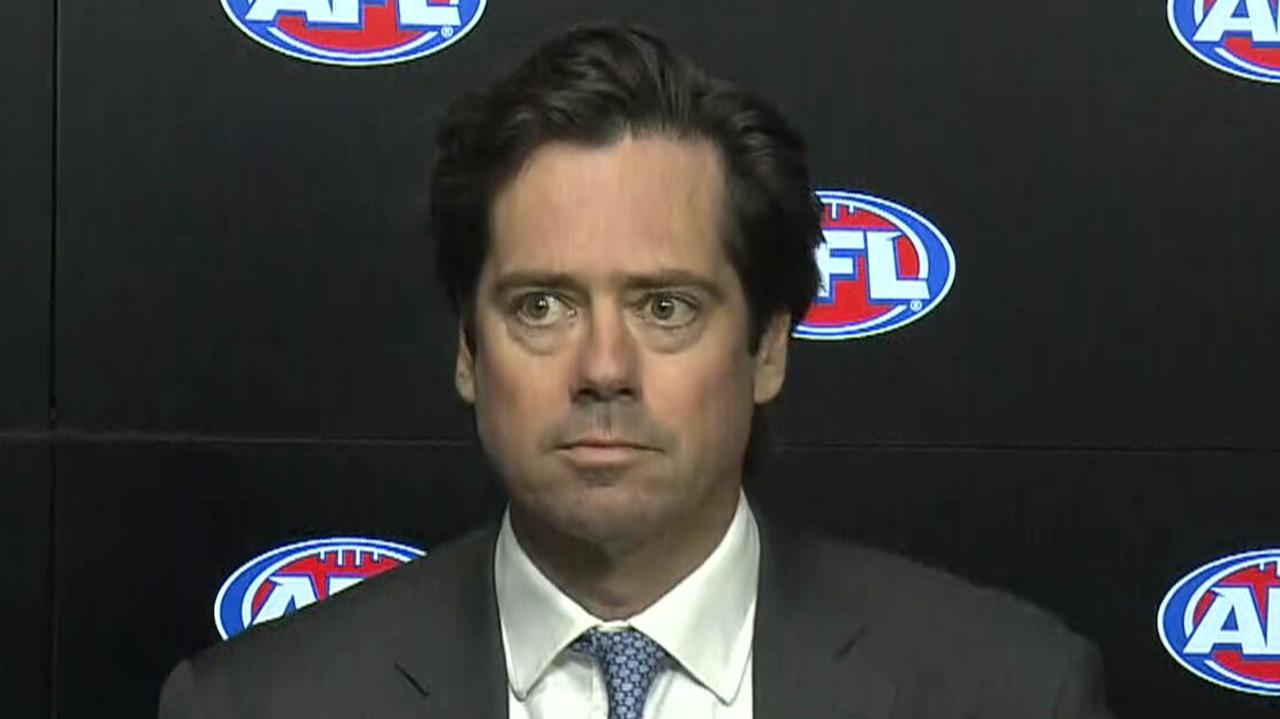 Gillon McLachlan was unimpressed with questions around an alleged investigation into young Pie Jaidyn Stephenson.