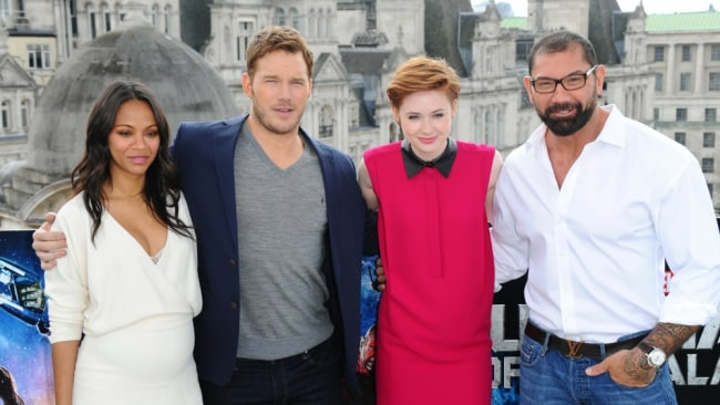 Karen Gillan with her 'Guardians' co-stars Zoe Saldana, Chris Pratt and Dave Bautista. Photo: Getty