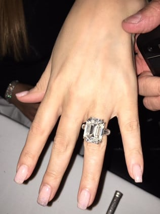 Mariah Carey's engagement ring given to her by James Packer. Picture: Supplied