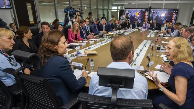 Queensland Premier Annastacia Palaszczuk chairs a meeting of the Queensland Disaster Management Committee. Picture: Glenn Hunt/AAP