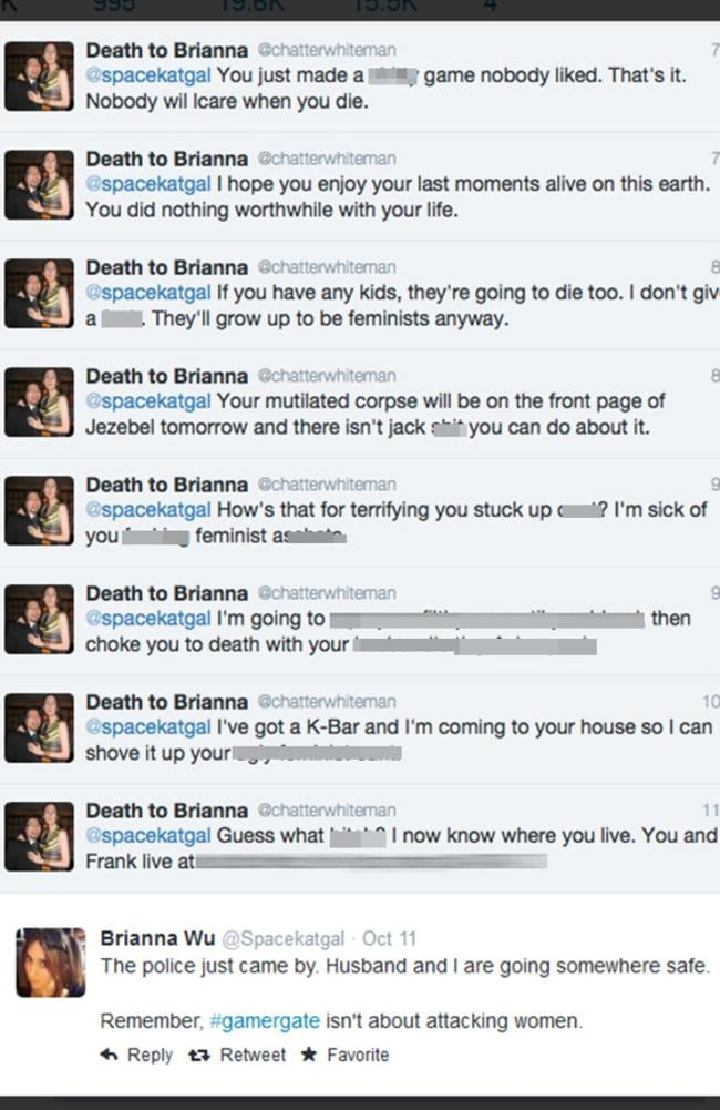 The threats received by developer Brianna Wu by an anonymous troll which also included her home address. Pic: Twitter.