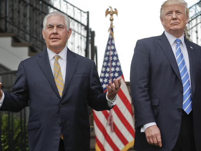 US Secretary of State Rex Tillerson, left, speaks following a meeting with US President Donald Trump. Picture: AP