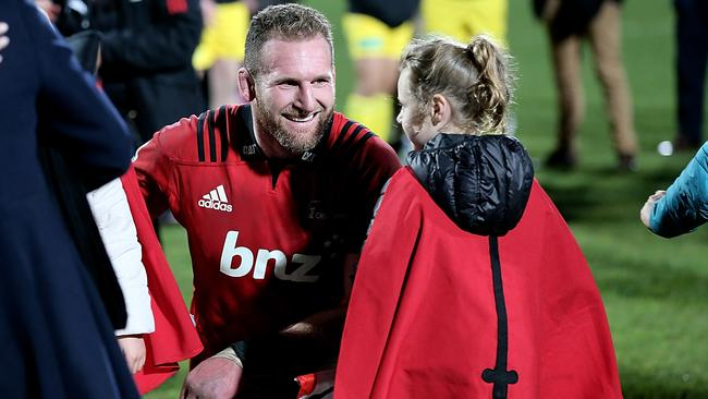 Kieran Read of the Crusaders celebrates with his daughter after the 2018 Super Rugby final.