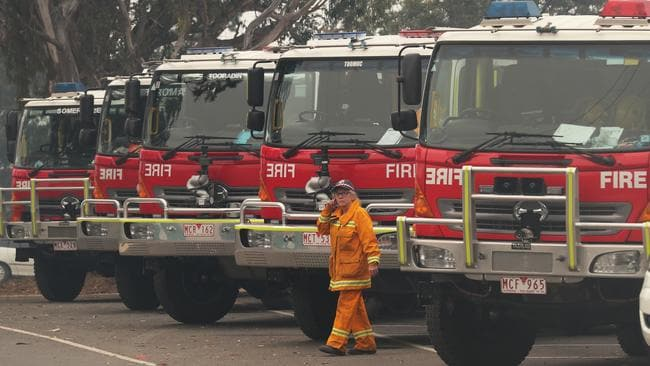 Firefighters prepare to head to the fire front from Johnsonville to the Gippsland fires. Picture: David Crosling