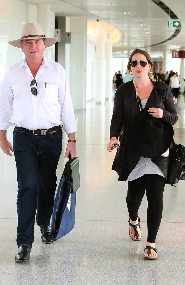 The Former Deputy Prime Minister Barnaby Joyce and his pregnant partner Vikki  Campion made their way to the Qantas Chairman's Lounge. Picture: Kym Smith