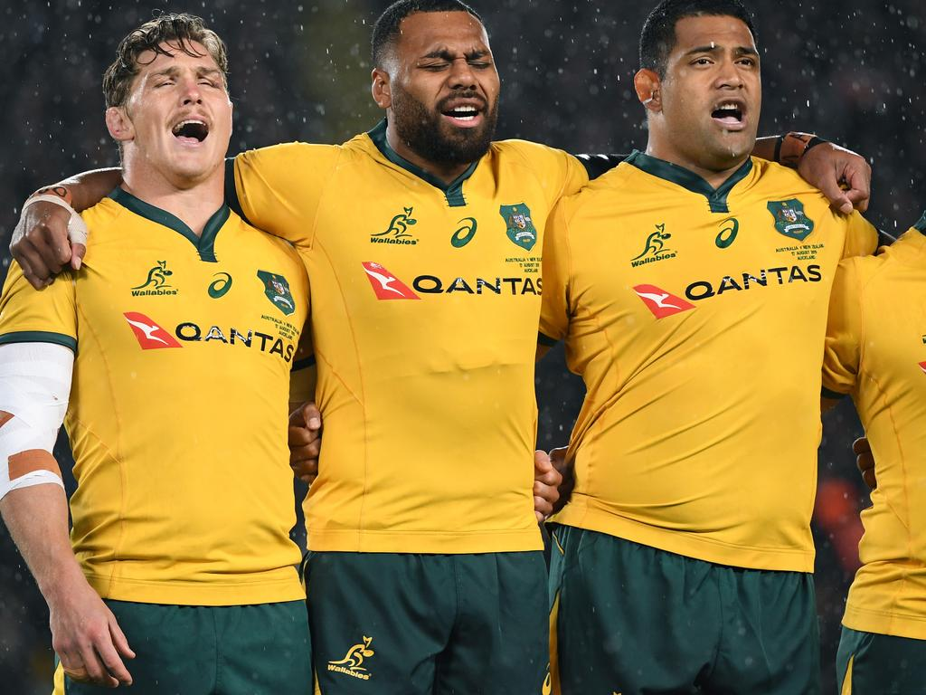 Wallabies players sing the national anthem prior to the Bledisloe Cup match between the New Zealand All Blacks and the Australian Wallabies  at Eden Park in Auckland, New Zealand, Saturday, August 17, 2019. (AAP Image/Dave Hunt) NO ARCHIVING, EDITORIAL USE ONLY