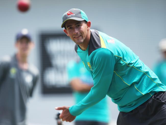 Ashton Agar during Australian team training for the SCG Test. Picture: Phil Hillyard