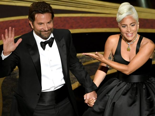 Bradley Cooper and Lady Gaga seemed very close at the Oscars. Picture: Getty
