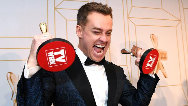 Grant Denyer with his Gold Logie award at the 2018 Logie Awards.