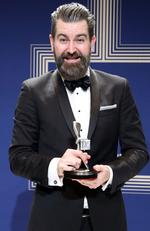 Todd Abbott poses with the Logie Award for Most Outstanding Comedy Program 'Please Like Me' during the 59th Annual Logie Awards at Crown Palladium on April 23, 2017 in Melbourne, Australia. Picture: Scott Barbour/Getty Images