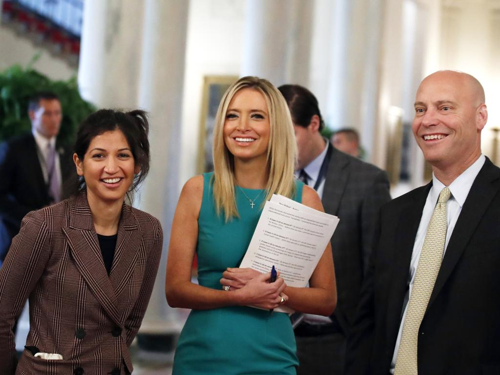 Katie Miller (left), White House press secretary Kayleigh McEnany and Marc Short, chief of staff to Vice President Mike Pence. Picture: AP