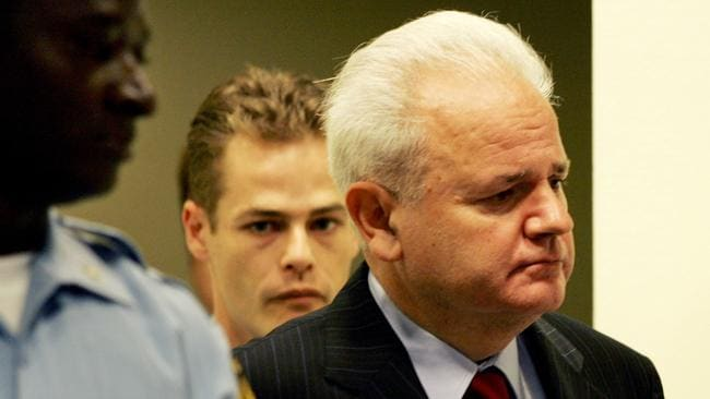 Former Yugoslav President Slobodan Milosevic, at the start of his defence at Yugoslav War Crimes UN tribunal in The Hague, The Netherlands.
