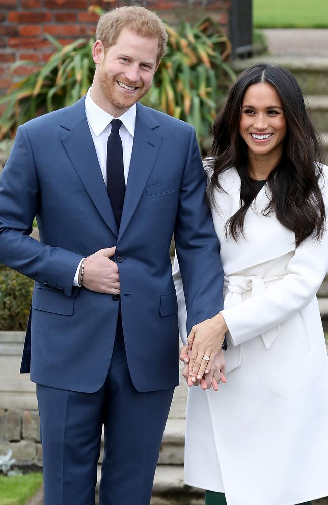 Prince Harry and Meghan Markle during a photocall to announce their engagement at Kensington Palace. Picture: Getty Images