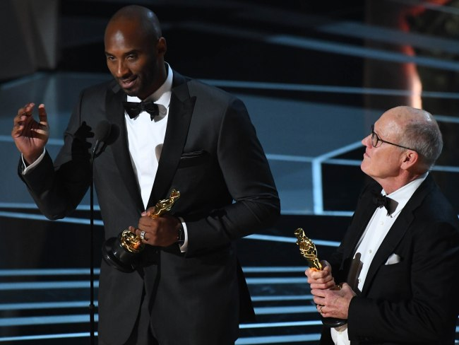 Glen Keane and Kobe Bryant accept the Oscar for best animated short film for Dear Basketball. Photo: USA Today