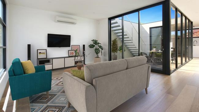 Inside one of the townhouses in Carlton.