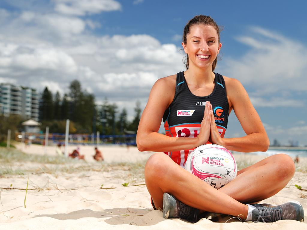Giants defender Amy Parmenter is in the Nine Network documentary Sporting Bubble that will delve into five sporting hubs in Queensland during pandemic. Picture: Lachie Millard