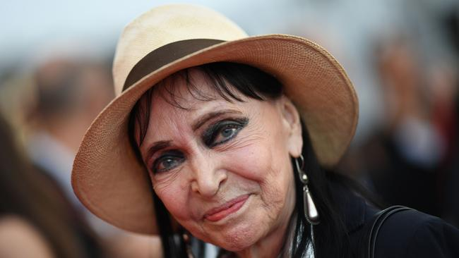 "In this file photo taken on May 08, 2018 Danish-French actress Anna Karina poses as she arrives for the screening of the film ""Todos Lo Saben (Everybody Knows)"" and the opening ceremony of the 71st edition of the Cannes Film Festival in Cannes, southern France. Picture: Loic Venance / AFP"