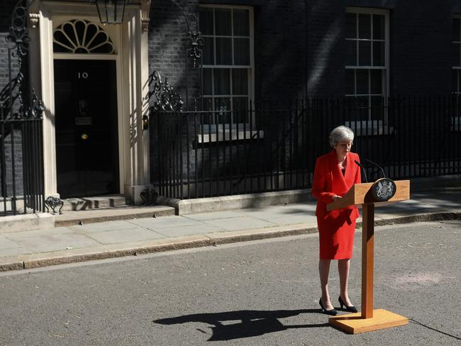 Britain's Prime Minister Theresa May announces her resignation outside 10 Downing Street. Picture: AP