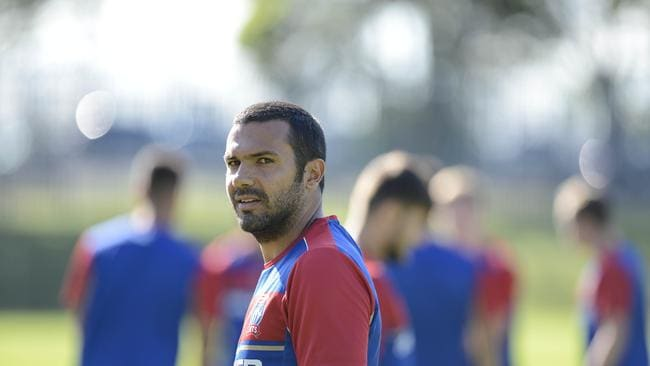 Newcastle Jets Player Nikolai Topor-Stanley at training before the Grand Final this week. Picture's Darren Leigh Roberts
