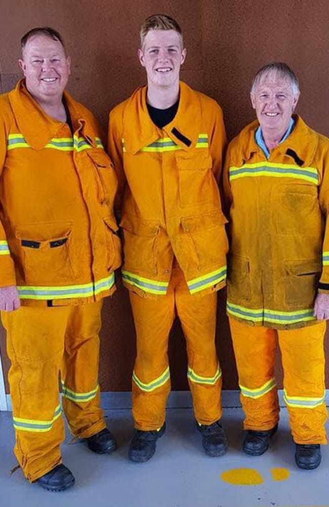 Family work: Michael, Lauchlan and Ray Wright have served as firefighters for years.