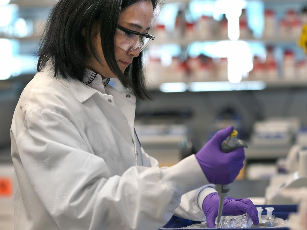 A scientist in the lab at Moderna in the US. Picture: Getty