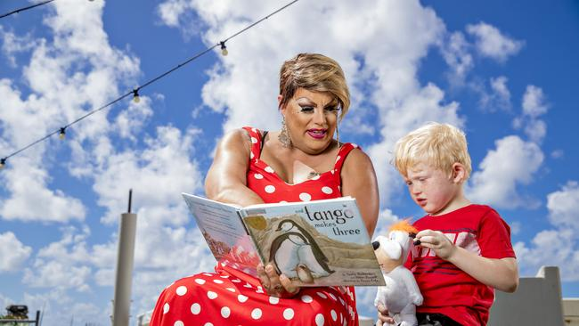 Gold Coast drag queen Dame Martini Fernando Ice reading to Cody Jasinski, 5. Picture: Jerad Williams