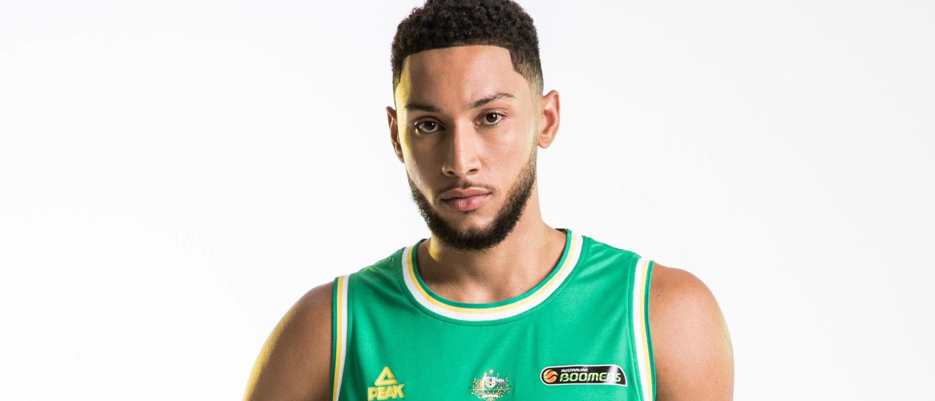 MUST NOT RUN BEFORE JULY 24, 2019 MUST REMOVE 'PEAK' LOGO FROM TOP CONTACT MATTHEW KITCHIN 03 9292 1367 Australian Ben Simmons in the Boomers strip.
