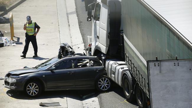 The truck driver is assisting police with inquiries. Picture: John Appleyard