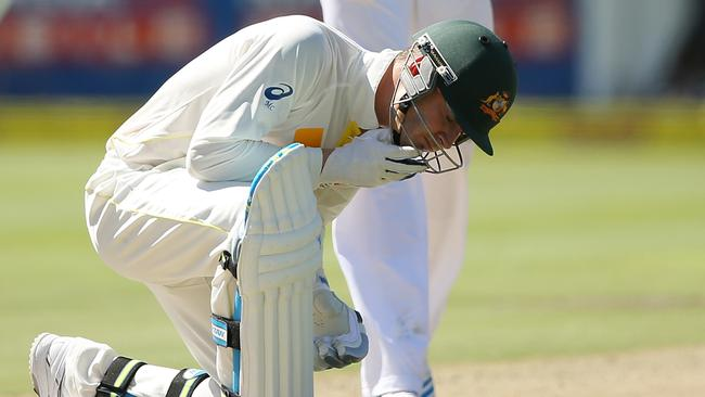 Michael Clarke got hit by a delivery from Morne Morkel of South Africa.