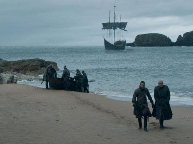 Jon Snow and Varys arrive at Dragonstone. Picture: HBO