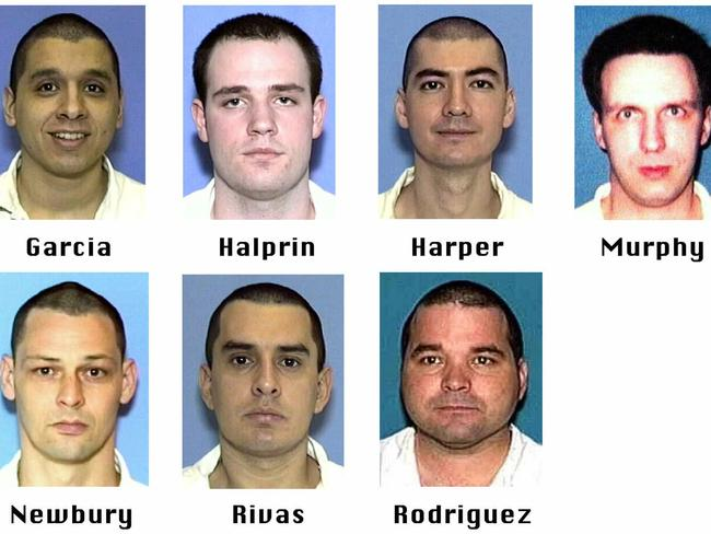 The Texas 7 — Joseph Garcia, Randy Halprin, Larry Harper, Patrick Murphy Jr., Donald Newbury, George Rivas, and Michael Rodriguez. Picture: AP Pic/ Texas Dept/of /Criminal /Justice, File